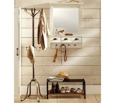 wall mount entryway organizer mirror almond white pottery barn