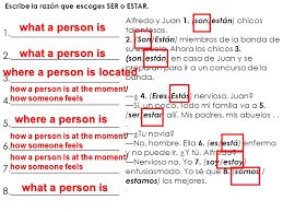 ser and estar capítulo 2a study guide worksheet powerpoint