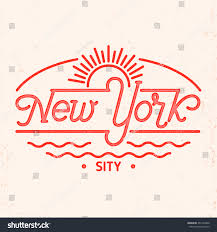 Elements Home Decor by New York City Typography Line Art Stock Vector 351392849