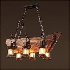 Wooden Chandeliers Joypeach 6 Heads Vintage Wooden Chandeliers Retro Industrial Style