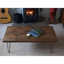 industrial hairpin leg desk style coffee table with metal hairpin legs