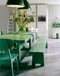 rustic dining area with large dining table with green color green
