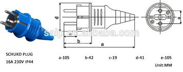 waterproof 16amp 230v 2 pin round pin european plug euro schuko