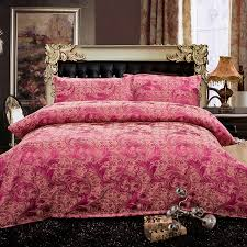 Fuchsia Comforter Set Luxury Tribute Silk Bedding Set Special Counter Anti Pilling Super