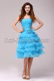 fantastic blue knee length junior prom dress 1st dress com