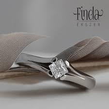 eljegyzesi gyuru princess nemesacél eljegyzési gyűrű fehér cirkóniával finda ékszer