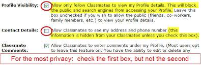 classmate search privacy