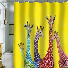 kids bathroom with giraffe shower curtain design and light yellow