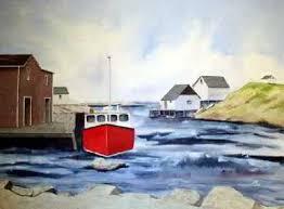 seaside retreat original watercolor painting