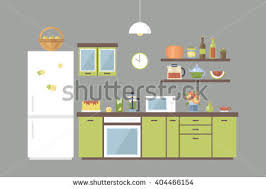 flat kitchen vector illustration download free vector art stock