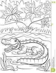 coloring pages animals little cute alligator sits in the lake