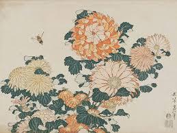 Japanese Flower Artwork - katsushika hokusai chrysanthemums and horsefly from an untitled