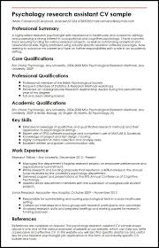 Extensive Resume Sample by Psychology Research Assistant Cv Sample Myperfectcv
