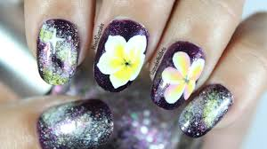 flower nail art plumeria galaxy nails youtube