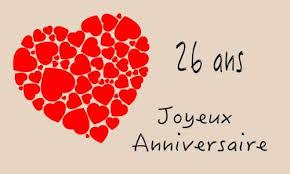 26 ans de mariage carte anniversaire mariage 26 ans coeur