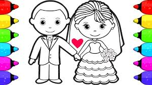 bride groom coloring book pages kids draw