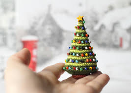 Decorations For Miniature Christmas Tree by Crocheted Christmas Tree Miniature Home Decor Winter Holiday