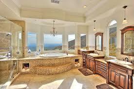 mediterranean style bathrooms mediterranean master bathroom with chandelier crown molding in