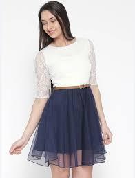 dress image u f women s fit and flare white blue dress buy u f women s