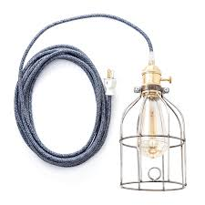 Color Cord Pendant Light Color Cord Company Navy Plug In Pendant Light W Cage Huckberry