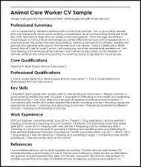 Personal Carer Resume Animal Care Worker Cv Sample Myperfectcv