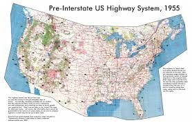 Huge Map Of The United States by Large Detailed Map Of Usa Highway System 1955 Usa United
