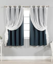 best home fashion navy tulle blackout short curtain panel set of