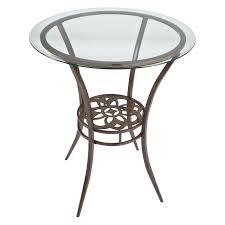 Round Bistro Table Boraam Beau Metal Pub Table With Glass Top Hayneedle