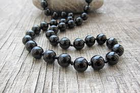black natural stone necklace images Long necklace 8mm black onyx necklace mens necklace 20 inches jpg