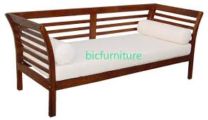 Simple Wooden Sofa Pure Teak Wood Divan Type Sofa With Bolsters Made To Order Sofas Bic