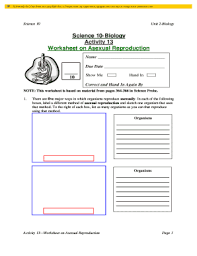 fillable online science 10 biology worksheet on asexual