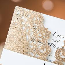 gold wedding invitations luxurious gold lace laser cut wedding invitations with