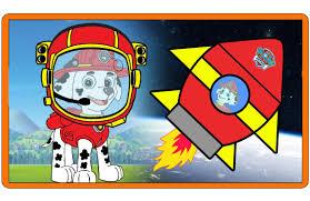 paw patrol marshall space man rocket ship adventure