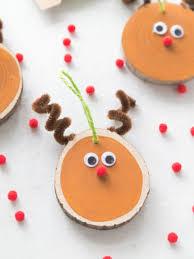 diy wood slice reindeer ornament easy reindeer ornament craft