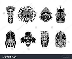 tribal masks ornamental elemetns set stock vector 268475036