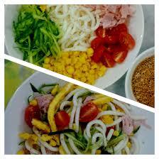 cold noodle salad hiyashi chuka avocado and eggs