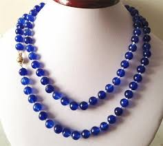 make bead chain necklace images 2017 beautiful blue 8mm chalcedony beads necklace rope chain beads jpg