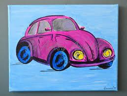 pink volkswagen beetle vintage pink volkswagen beetle u2013 a colorful painted wall art
