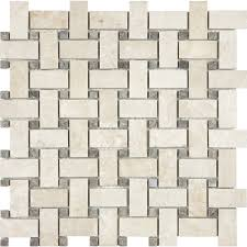 shop allen roth crema luna polished basketweave mosaic marble