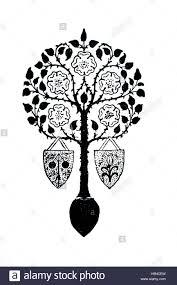 tree motif design with tudor roses and heraldic shields decoration