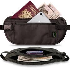 Black rfid hidden money belt travel wallet for passport cards
