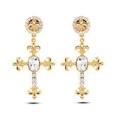 3 gram gold earrings e053 cross earrings women gold and silver color drop