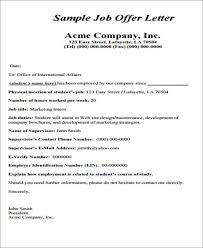 employment offer letters offer letter examples employment job