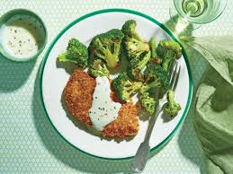 crispy oven fried chicken cutlets with roasted broccoli and