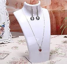 jewelry holder necklace images White acrylic mannequin bust necklace earrings display stand jpg