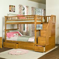 Pull Out Bunk Bed by Light Brown Wooden Bunk Bed For Kids With Stairs And Pull Out