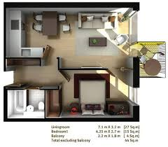 Single Bedroom Apartment Floor Plans One Bed Flat Floor Plan 3d Rooms Pinterest House Tiny