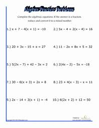 algebra practice problems worksheet education com