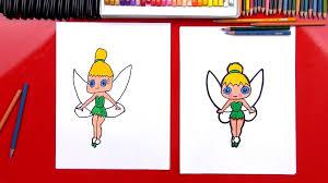 draw cartoon tinkerbell art kids hub