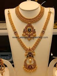 gold set for marriage antique gold haram necklace set jewellery antique